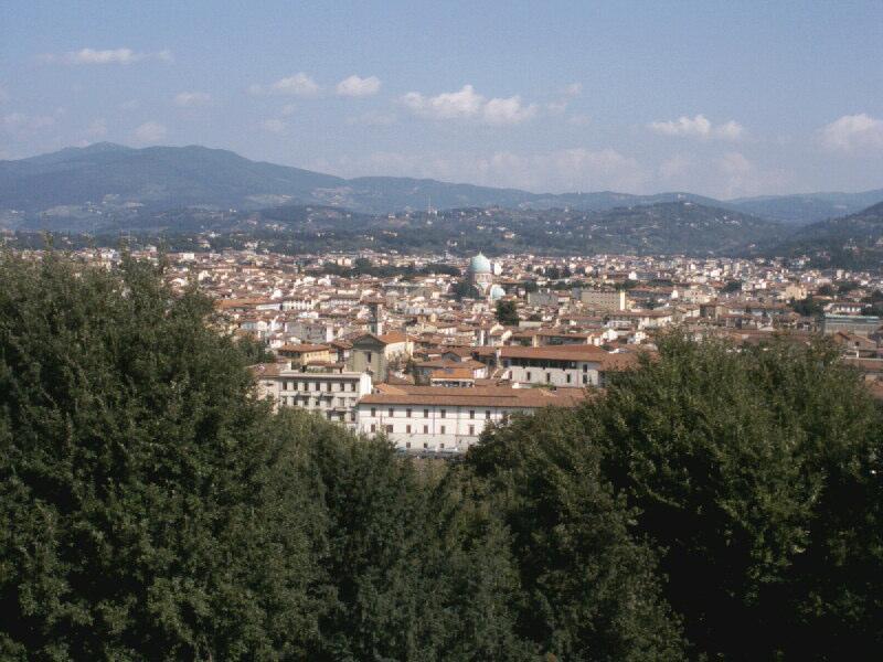 Das Bild zeigt Florenz, von einem Hügel aus fotographiert